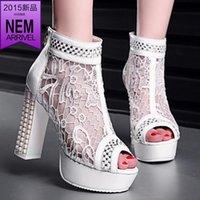 designer sheepskin boots - Increased high heeled sandals fish head spring sheepskin boots WTA openwork mesh leather interior designer shoes dx1779