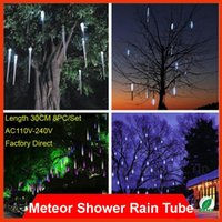 Wholesale 30CM Meteor Shower Rain Tubes V EU US Plug LED Christmas Tree light Festival Wedding Xmas Party Decoration PC set Rainfall Tubes