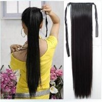 Wholesale 2015 New Girls Synthetic Cosplay Ponytail Long Straight Clip Hair Extensions Hairpiece colors ic678904