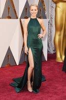 Wholesale 2016 th Oscar Red Carpet Celebrity Dresses Elegant Dark Green Split Evening Dresses Halter High Slit Prom Dress Formal Dresses Evening