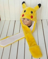 Wholesale 2015 new yellow Pikachu Short Plush Hat Cap with Gloves Cosplay for pikachu fans animal hat