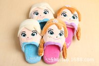 Wholesale 2015 Frozen Elsa Anna Winter Warm Slippers shoes Three dimensional cartoon indoor children slippers