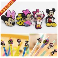Wholesale 4pcs set Mickey PVC Pencil Cap for Kids Children Students Cartoon School Stationery Supplies Pens Accessories Party Best Gift