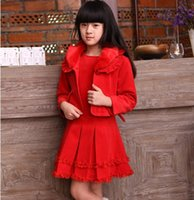 Cheap New Spring Girl's Dresses Set Two-Piece Dresses Of Red Vest Dress+Red Full Sleeve Overcoat With Button Wholesale Free Shipping