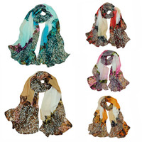 Wholesale Fashion Women Chiffon Scarf Leopard Print Long Shawl Wrap Pashmina Blue Red Rose Yellow Khaki H6033