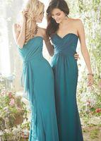 Wholesale 2014 Teal Blue Chiffon Long Bridesmaid Dresses Cheap Sweetheart Sheath Pleated Corset Floor Length Prom Bridesmaid Dresses China DL1313692