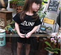 Cheap 2015 Korean Girls Dress Children Clothing Letter Tshirts Tops Lace Gauze Skirts Sets Kids Clothes T srhits Shirt Skirt Outfits D4381