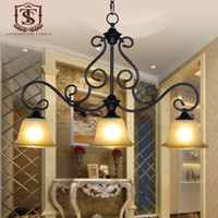 Wholesale 3 lights iron chandelier with glass shade american style iron chandelier lighting for dining room D