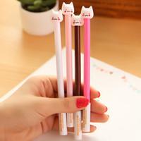 Wholesale 12 New Cute Cat Gel Pens Colors Cartoon Creative Gift School Supplies Good Quality Gel Pen