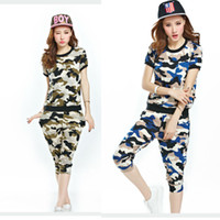 hippie clothing - New Casual camouflage Suits Baggy Harem Hippie Hiphop Pants T shirt Clothing Sets
