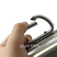 Wholesale 2014 New HE Practical Stainless Steel Outdoor Camp Camping Cups Carabiner Hook Double Wall Drinwear EH