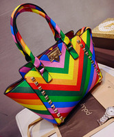 Wholesale 2015 Spring bags color block rainbow bag women handbag wings package handbag rivet messenger bag