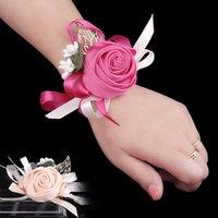 Cheap Popular Hot Wedding Rose Wrist Flowers Bridesmaid Sisters Handmade Corsage Wrist Flowers Wedding Party Decor JM0100 Clothesseller