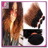 hair dye color - Hair And Beauty Afro Curly Weave Brazilian Afro Kinky Curl Extension piece Ombre Weave A Remy Hair Wave Omber Colored Brazillian Hair