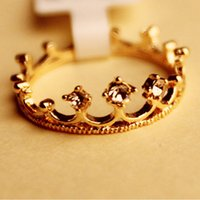 Wholesale Women Gold Filled Crystal Rhinestone Crown Ring Finger Jewelry one