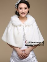 Wholesale Free Size Stock New White Wedding Jacket Wrap For Bride Faux Fur Long Wedding Wraps Plus Size Coat Shawls For Dresses