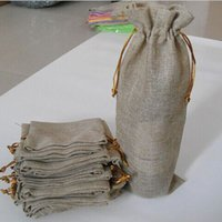 Wholesale Jute Wine Bottle Gift Bags burgundy cmx37cm quot x quot Champagne promotion Pouches Wedding party Decorate
