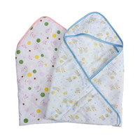 Wholesale 1Pcs New cmX70cm Cotton Baby Squares Hooded Towel Four Layers Of Gauze Child Shower Baojin Blankets