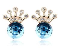 Boucles d'oreilles en cristal de cristal australien Crown Crown pour femmes Pendentifs en or 18 carats fabriqués avec des boucles d'oreilles Swarovski Elements Fashion 8048