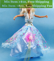 Wholesale Randomly send Fashion Handmade Yellow Clothes party Dresses Gown Outfit for Doll