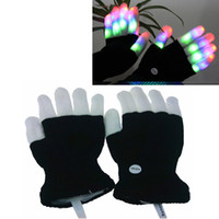 Wholesale LED Rave Gloves Mitts Flashing Finger Lighting Gloves LED Colorful Colors Light Show Black and White
