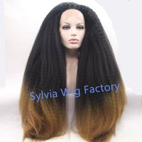 Wholesale New arrival fashional afro kinky straight wig brazilian T ombre wigs synthetic lace front wig heat resistant Synthetic Hair in stock
