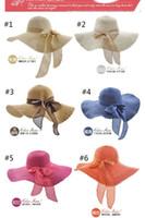 Wholesale 6 colors Wide Large Floppy Brim Summer Beach Sun Straw Beach Derby Hat Cap Packable Flexible DHL free