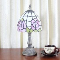 lamps stained glass - Table Lamp Tiffany Delicate Pink Rose Small Fresh Minimalist Glass Decor Desk Lamp Living Room Bedroom Bedside Light