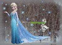 Wholesale Queen Elsa Frozen Wall Stickers Olaf Decorative Wall Decal Cartoon Wallpaper Kids Frozen Decoration Christmas Wall Art New Exclusive Sales