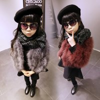 Wholesale 2016 New Winter Warm Solid Fur Coat Long Sleeve Natural Ostrich Girls Outerwear Kids Jacket