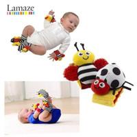 Mode nouvelle arrivée bébé hochet bébé jouets Lamaze somptueux jardin Bug poignet hochet + pieds chaussettes 4 Styles livraison gratuite