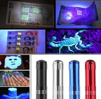 Cheap Free shipping 100pcs Aluminium Mini Portable UV Ultra Violet Blacklight 9 LED Flashlight Torch Light
