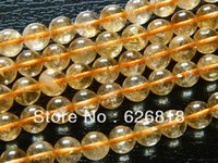Cheap Free shipping natural clear 10mm citrine round crystal beads stone for jewelry making