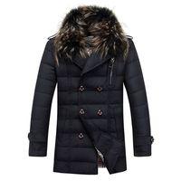 men winter parka - Fall Winter Parka Thicken Warm Down Winter Jacket Men fashion casual big fur collar Coat Outdoor windproof White Duck Down Jackets