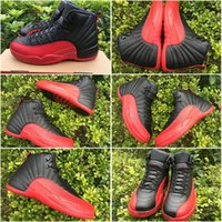 Wholesale Drop Shipping Authentic Carbon Fiber Retro XII Flu Game Men s Sports Basketball Shoes Black Varsity Red