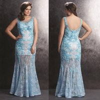 Wholesale 2015 Excellent Lace Plus Size Maxi Prom Dresses Scoop Neck Sheath Long Evening Gowns Big Size For Fat Women Floor Length Party Dress