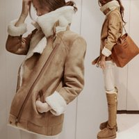 active materials - newest suede thickness lady women jacket V neck girl coat suede material for retail and wholesales