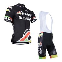 Wholesale 2014 santini men s cycling Jersey sets with short sleeve bike shirt padded bib short in cycling clothing breathable bicycle wear