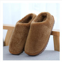 Snow Boots house slippers men - Winter Women Men Keep Warm Plush Slipper Home shoes Flat Package With Shoes Brown khaki Pink Sky Blue Rose Solid Colors House Slippers