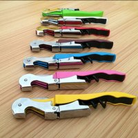 Wholesale Hot New Grape Wine Opener Household Accessories Screw Corkscrew Champagne Bottle Opener Cooking Tools Black JE0004 kevinstyle