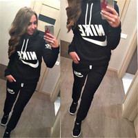 active long sleeve - 2016 New Arrival Women active set tracksuits Hoodies Sweatshirt Pants Running Sports set long sleeves and pants