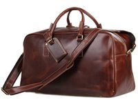 Wholesale 7156LB Genuine Cow Leather Unisex Red wine Huge Luggage Bag Tote Bag