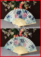 bamboo pattern fabric - Natural Color Bamboo Hand Fan Single Sided Silk Fabric Fan Assorted Floral Patterns Fan High End Wedding Gift