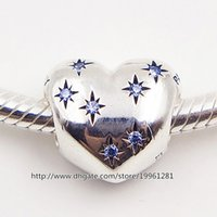 Argent 925 Cinderella Bead Charm Coeur avec Fancy Light Blue Cz Fit Bijoux Bracelets européenne Collier