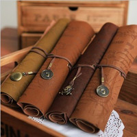 antique pencil box - Antique nautical treasure map Stationery Gift fashion roll pencil case Big capacity pencil bag Soft leather Pen boxes