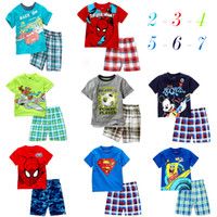 Cheap 18pcs 2015 Hot sale 100% Cotton baby kids pajamas Spiderman superman Micky Summer kids suits Outfits Cartoon kids pajamas sets