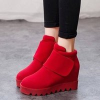 ball platform shoes - Autumn and winter plus cotton ball Within increased platform shoes waterproof shoes casual women shoes wedge heel thick crust
