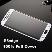 Wholesale Samsung Galaxy S6 Edge Full Cover Curved Side Tempered Glass Screen Protector MM H D Arc edge Explosion Proof Retail Box