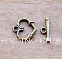 Wholesale sets of Antique Bronze Toggle Clasps Love Heart Bracelet Clasp charm mm mm A287