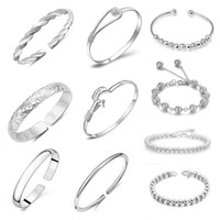 silver jewelry - 10 styles hot sale silver jewelry bracelets bangle for women silver romantic bangles bracelets jewelry set WH